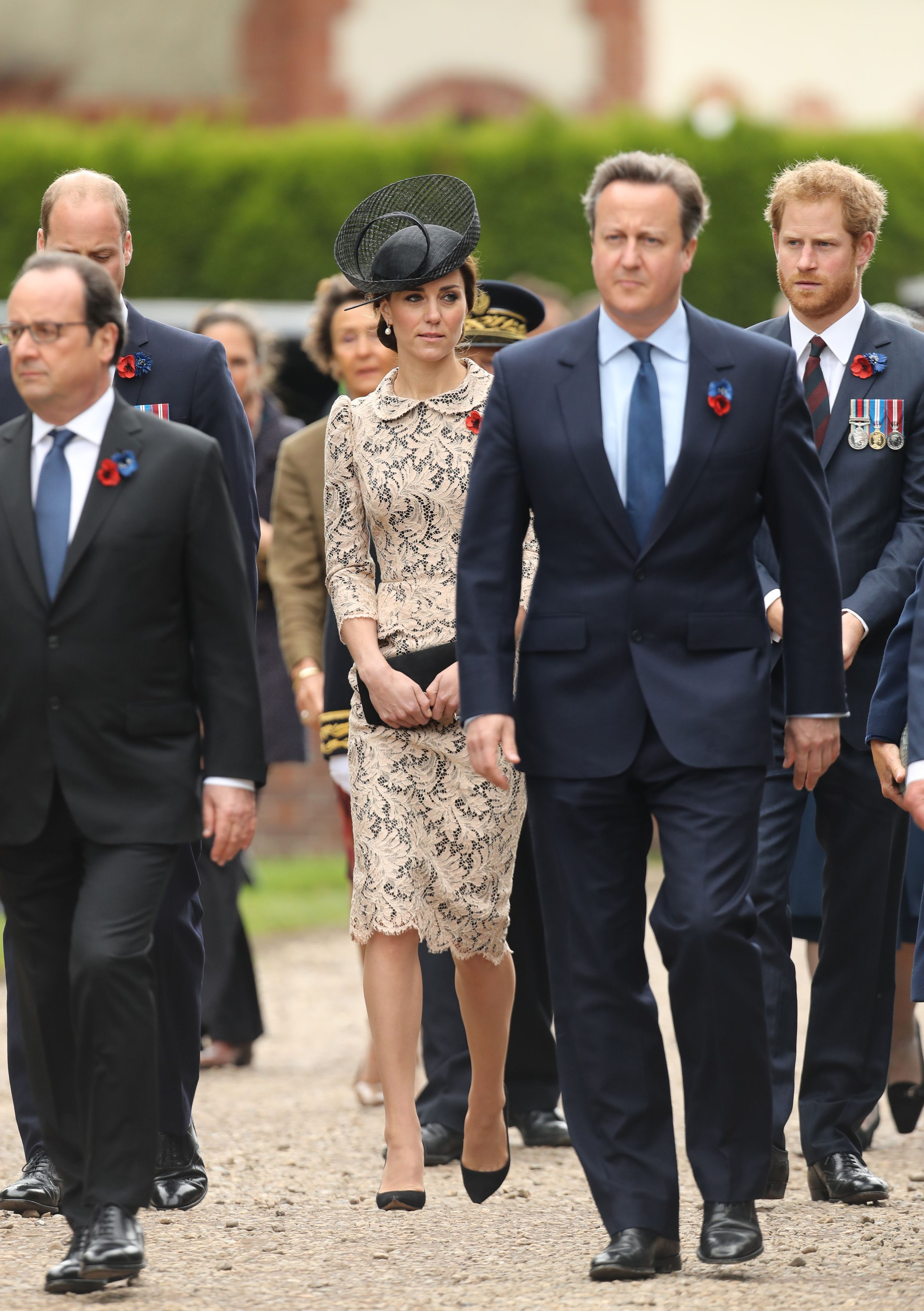 THIEPVAL, FRANCE - JULY 1: Catherine, Duchess of Cambridge and Prince Harry attend a service to mark the 100th anniversary of the beginning of the Battle of the Somme at the Thiepval memorial to the Missing on July 1, 2016 in Thiepval, France. The event is part of the Commemoration of the Centenary of the Battle of the Somme at the Commonwealth War Graves Commission Thiepval Memorial in Thiepval, France, where 70,000 British and Commonwealth soldiers with no known grave are commemorated. (Photo by Chris Radburn - Pool/Getty Images)