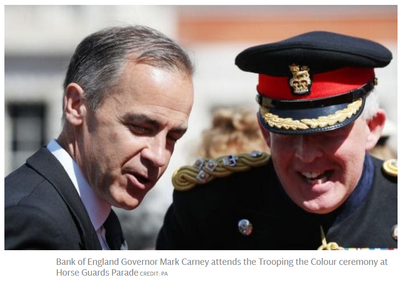 Bank of England Governor Mark Carney attends the Trooping the Colour ceremony at Horse Guards Parade CREDIT: PA