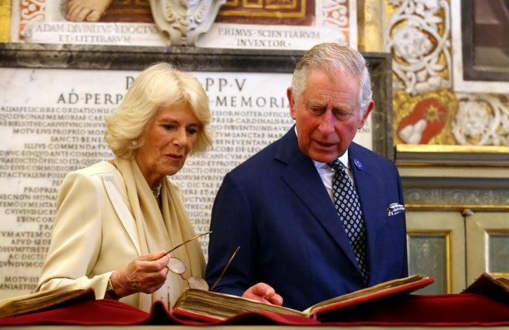 Britain's Prince Charles and his wife Camilla, Duchess of Cornwall arrive to visit the Vatican Apostolic Library at the Vatican Photo (C) REUTERS, Alessandro Blanchi