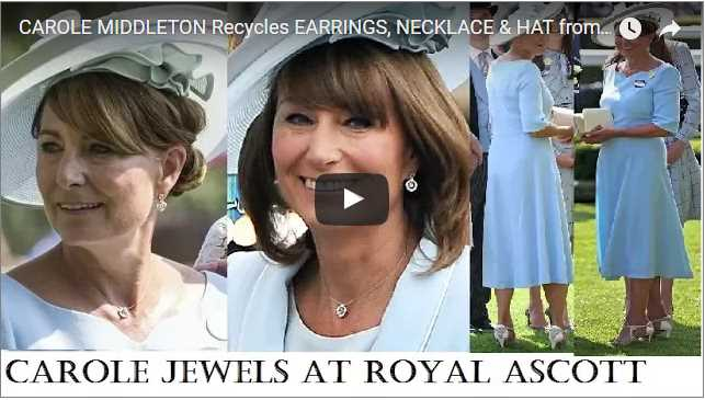 Carole Middleton Recycles Earrings Necklace Hat from Kate William Wedding at Royal Ascot 2017