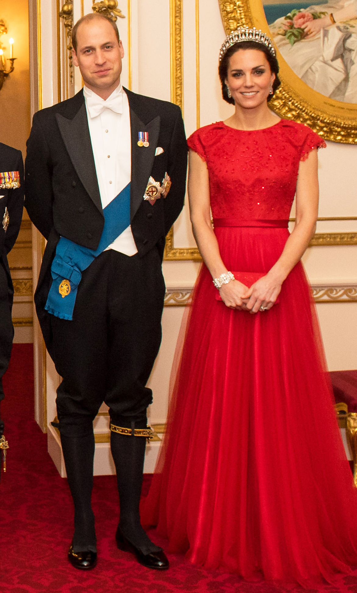Diplomatic Corps reception.  ALTERNATE CROP The Duke and Duchess of Cambridge arrive for the annual evening reception for members of the Diplomatic Corps at Buckingham Palace, London.  Picture date: Thursday December 8, 2016. Photo credit should read: Dominic Lipinski/PA Wire URN:29408505