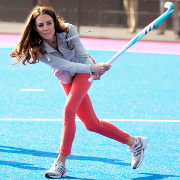 Catherine Duchess of Cambridge playing hockey Photo (C) GETTY IMAGES