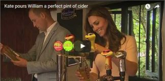 Catherine, Duchess of Cambridge pours William a perfect pint of cider