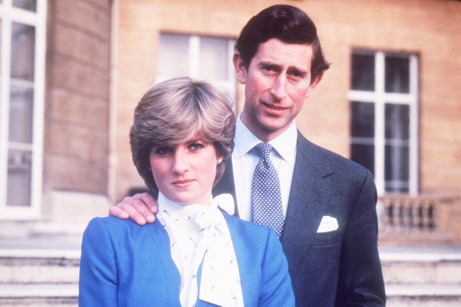 24th February 1981:  Charles, Prince of Wales, and Diana, Princess of Wales, (1961 - 1997) at Buckingham Palace in London on the occasion of their engagement.  (Photo by Central Press/Getty Images)