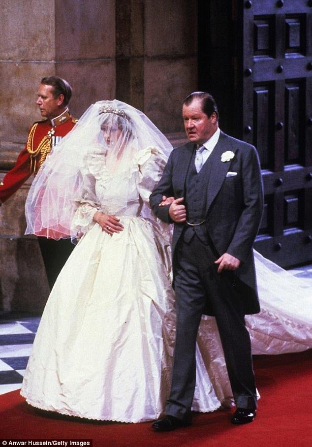 Diana entering the cathedral with her father Earl Spencer