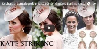 Duchess of Cambridge donned £7500 Striking Drop Earrings matched with Dress at Pippas Wedding