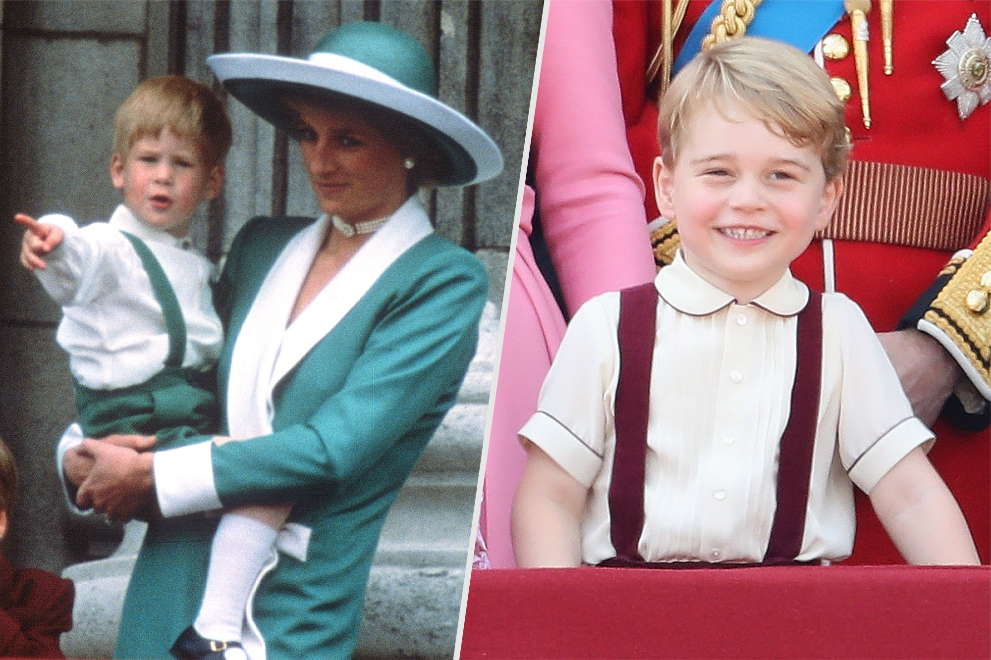 For this year's parade, George was joined on the balcony by the other senior royals and his little sister, Princess Charlotte, who wore a pink dress. ANWAR HUSSEIN/GETTY IMAGES; CHRIS JACKSON/GETTY IMAGES