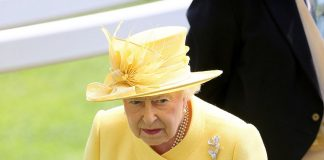Her Majesty accessorised with a silver flower brooch and her trusty string of pearls