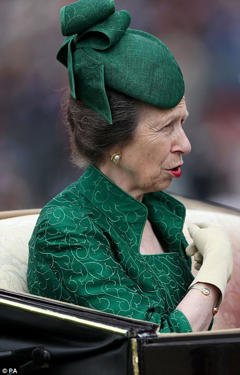 Her mother Princess Anne chose a green outfit and hat for the outing