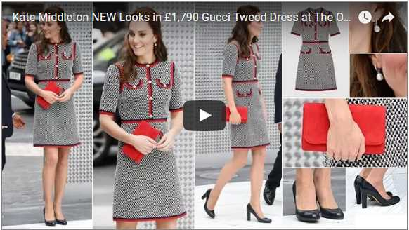 Kate Middleton NEW Looks in £1790 Gucci Tweed Dress at The Open the New Wing at Londons VA
