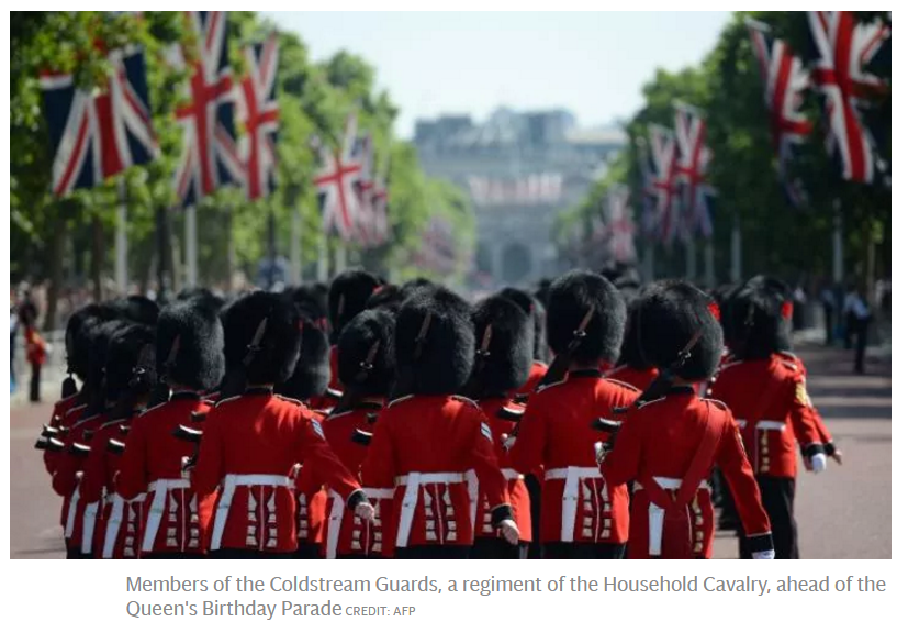 Members of the Coldstream Guards, a regiment of the Household Cavalry, ahead of the Queen's Birthday Parade