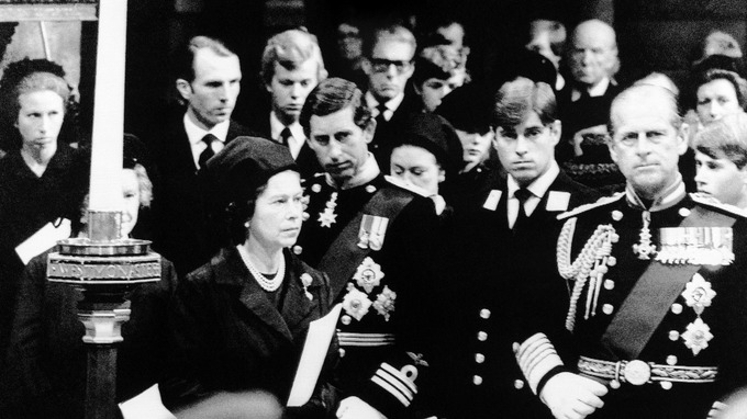 Members of the Royal Family attend the funeral of Lord Mountbatten in Westminster Abbey in 1979. Credit AP