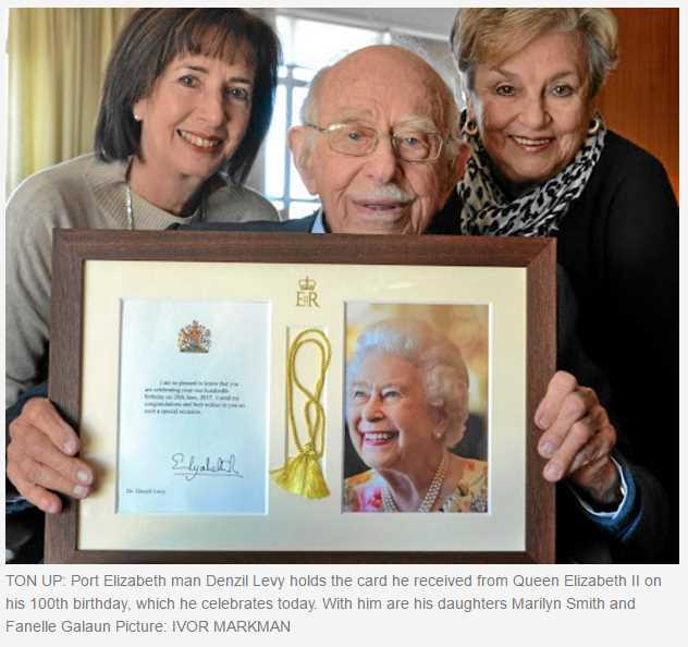 Port Elizabeth man Denzil Levy holds the card he received from Queen Elizabeth II on his 100th birthday which he celebrates today. With him are his daughters Marilyn Smith and Fanelle Galaun