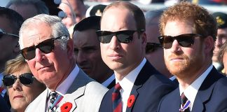 Prince Charles Prince William and Prince Harry at a commemoration ceremony at the Canadian National Vimy Memorial