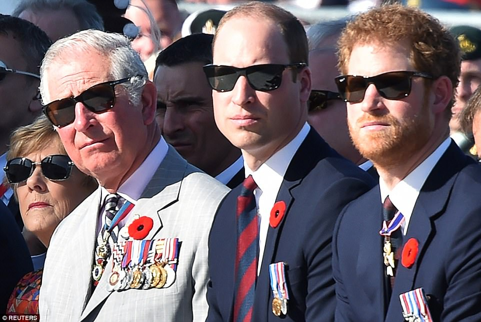 Prince Charles, Prince William, and Prince Harry at a commemoration ceremony at the Canadian National Vimy Memorial