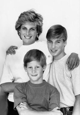 Prince William, Prince Harry, and Princess Diana Photo (C) GETTY IMAGES