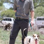 Prince Harry is pictured with a Ranger Tracker dog as he visits the South African Wildlife College on December 2 2015 in Hoedspruit South Africa