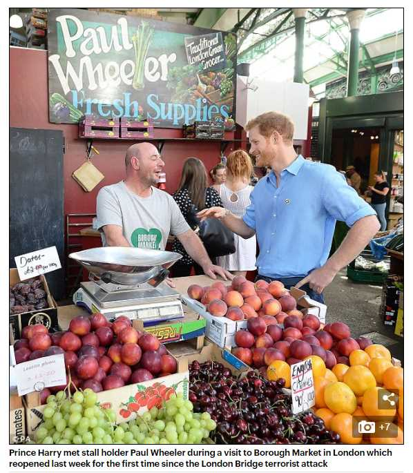 Prince Harry met stall holder Paul Wheeler during a visit to Borough Market in London which reopened last week