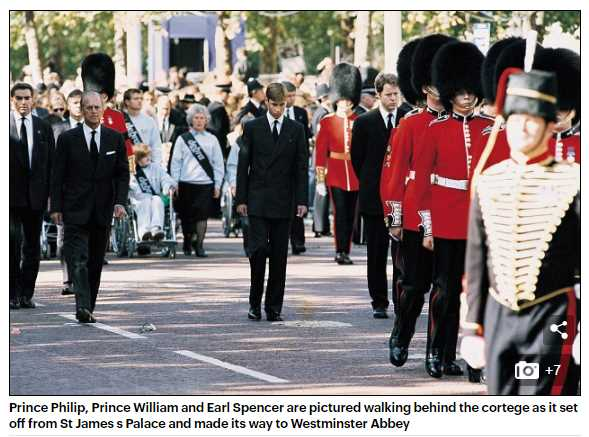 Prince Philip, Prince William and Earl Spencer are pictured walking behind the cortege as it set off from St James s Palace