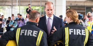 Prince William visited the Westway Sports Centre, which is currently being used as a rescue shelter Photo (C) GETTY