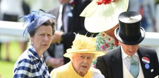 Princess Anne also joined her mother wearing a striking blue and white checked jacket and gloves