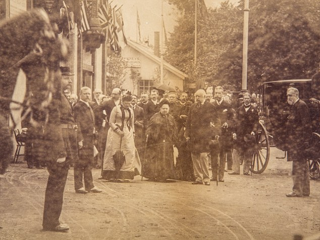 Detail of the photo of HRH Queen Victoria, with Princess Beatrice on her right, and George of Cambridge on her left, at the Royal Military Exhibition, 4th July 1890. Part of the Royalty, Antiques & Fine Art Sale at Reeman Dansie Auctioneers, Colchester on Tuesday 17th 2015.