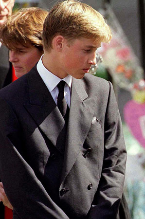 LONDON- SEPTEMBER 6: (FILE PHOTO)  Prince William and Prince Harry stand outside Westminster Abbey at the funeral of Diana, Princess of Wales on September 6, 1997 in London, England.   (Photo by Anwar Hussein)
