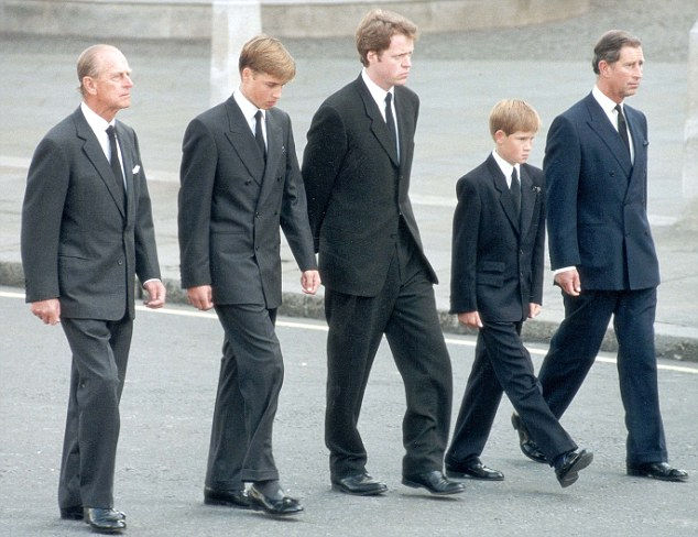 PRINCE CHARLES (LIFE TIME OF PICTURES BY PA) 1997  Prince Charles, Prince William, Prince Harry, Earl Althorp and Duke of Edinburgh walk behind Diana, The Princess of Wales' funeral cortege.