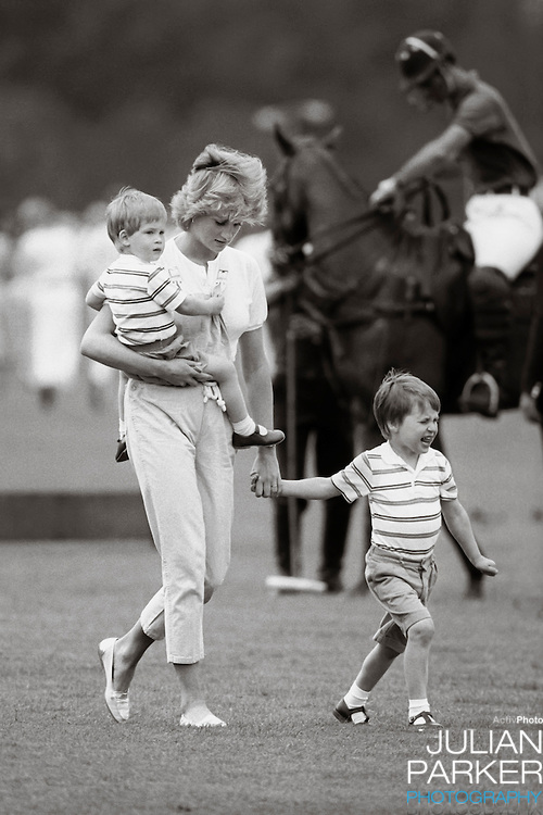 Diana, The Princess of Wales, and Prince William,and Prince Harry, at a Polo match, Smiths Lawn, Windsor