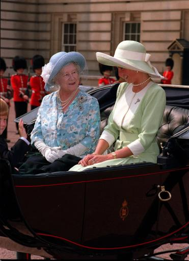 1990: The Queen Mother, the Princess of Wales and Prince Harry leave Buckingham Palace for the Trooping the Colour ceremony in London.