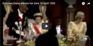 Princess Diana adjusts her tiara 16 April 1985