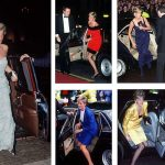 Princess Diana steps out of various cars clutching her purse to her cleavage when necessary. Photo C TIM GRAHAM GETTY IMAGES