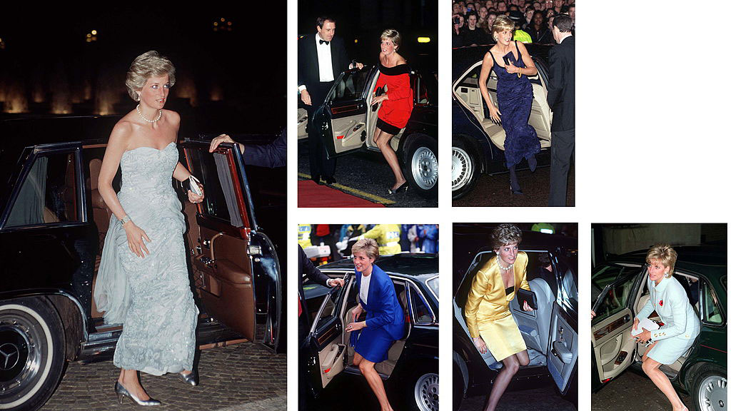 Princess Diana steps out of various cars, clutching her purse to her cleavage when necessary. Photo (C) TIM GRAHAM, GETTY IMAGES