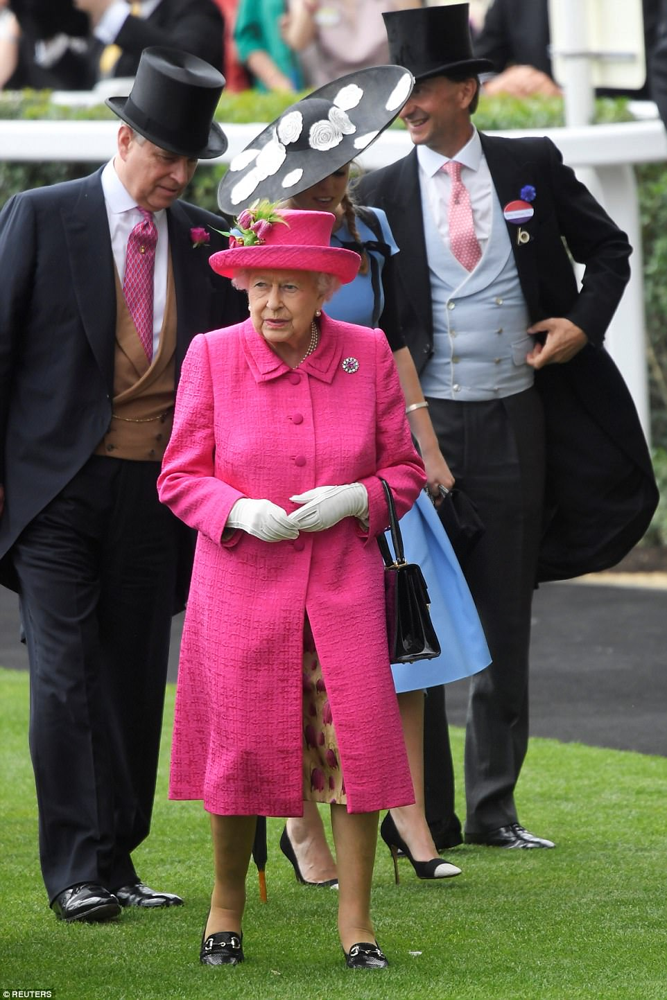 Punters were betting on the Queen choosing pink for Ladies Day and weren't left disappointed