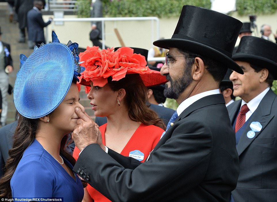 Sheikh Mohammed Bin Rashid Al Maktoum playfully tweaks his daughter Sheika Al Jalila's nose