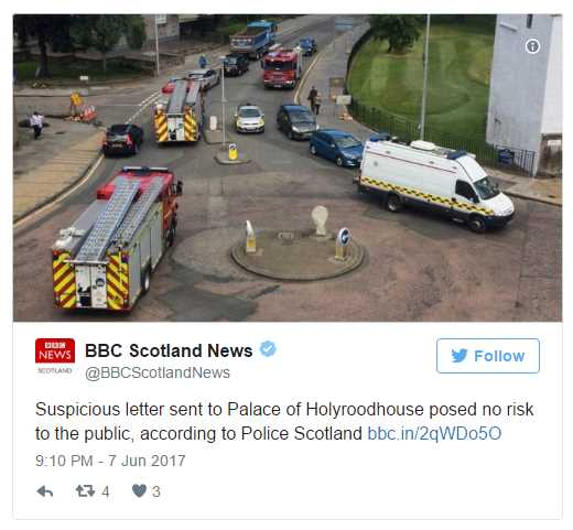 Suspicious letter sent to Palace of Holyroodhouse posed no risk to the public according to Police Scotland Photo C TWITTER