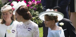 The 35 year old royal looked resplendent in a bespoke Alexander McQueen lace dress which displayed the silhouette of her limbs when the sun shone behind her