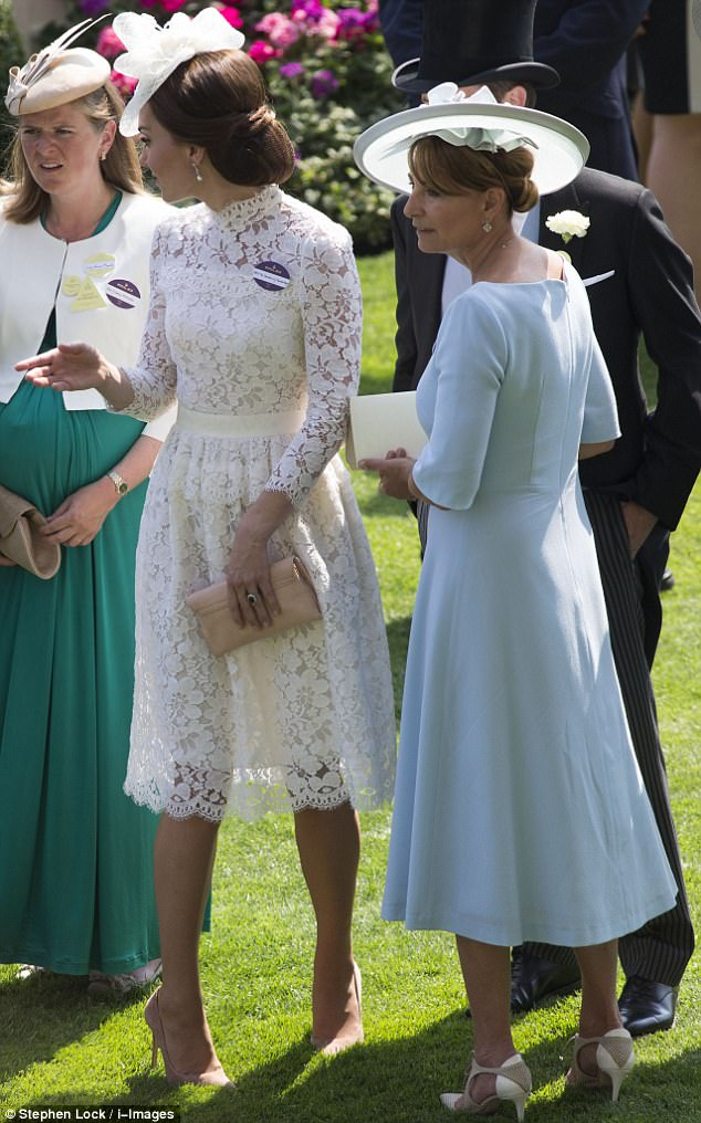 The 35-year-old royal looked resplendent in a bespoke Alexander McQueen lace dress - which displayed the silhouette of her limbs when the sun shone behind her