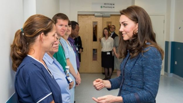 The Duchess of Cambridge has visited a hospital to meet staff and patients affected by the London Bridge attack Photo (C) PA