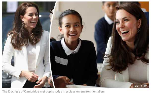 The Duchess of Cambridge met pupils today in a class on environmentalism