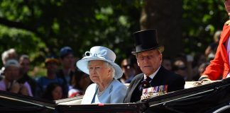 The Monarch arrived in an open horse drawn carriage with Prince Philip by her side as thousands turned out to watch the spectacle of might splendour and precision