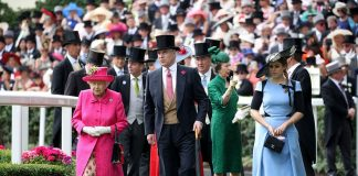 The Queen Prince Andrew Princess Anne and Princess Beatrice are seen entering the Parade Ring ahead of the Gold Cup