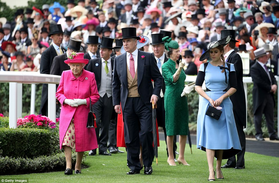 The Queen, Prince Andrew, Princess Anne, and Princess Beatrice are seen entering the Parade Ring ahead of the Gold Cup