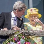 The Queen chatted to friends at the Epsom Derby Photo C GETTY IMAGES