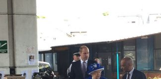 The Queen makes her way into the Westway Centre Photo C SKY NEWS
