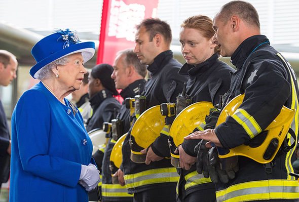 The Queen visited emergency responders to the Grenfell Tower fire yesterday Photo (C) GETTY