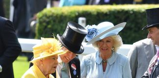 The Queen was joined by her daughter-in-law Camilla who wore a blue dress with appliqué polka dots and pleated panels