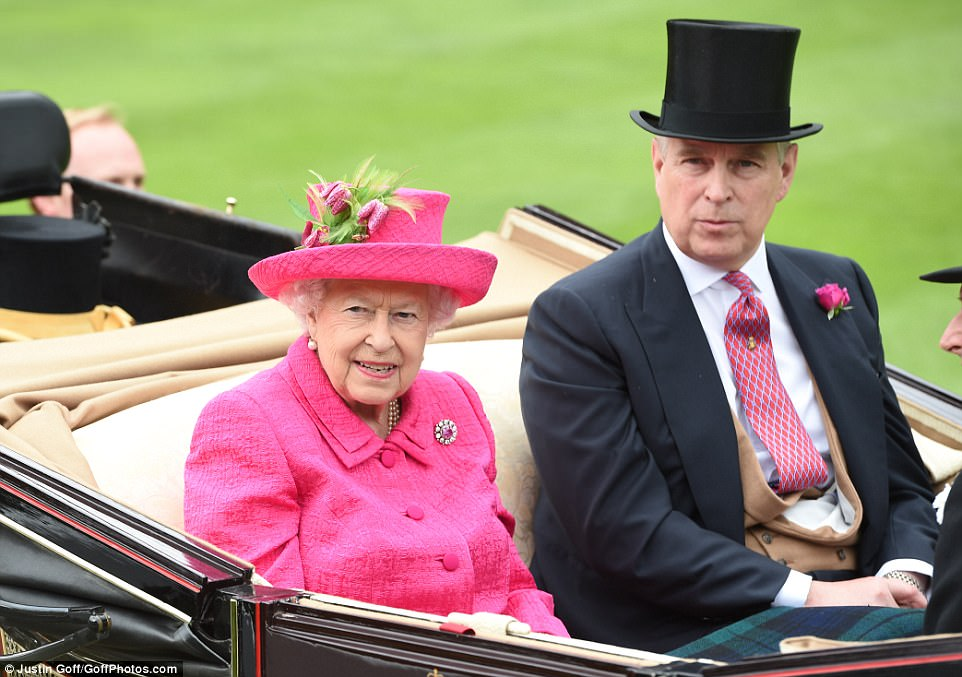 The Queen was joined in the carriage procession at Ascot by her son Prince Andrew, while her husband the Duke of Edinburgh continues to recover from an infection