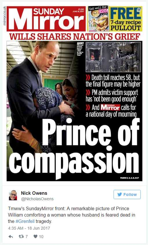 Tmww's SundayMirror front A remarkable picture of Prince William comforting a woman whose husband is feared dead in the #Grenfell tragedy.Photo (C) TWITTER