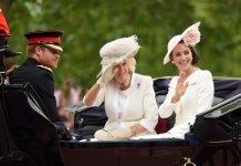LONDON, ENGLAND - JUNE 11: Prince Harry, Camilla, Duchess of Cornwall and Catherine, Duchess of Cambridge attend the Trooping the Colour, this year marking the Queen's official 90th birthday at The Mall on June 11, 2016 in London, England. The ceremony is Queen Elizabeth II's annual birthday parade and dates back to the time of Charles II in the 17th Century when the Colours of a regiment were used as a rallying point in battle. (Photo by Karwai Tang/WireImage)